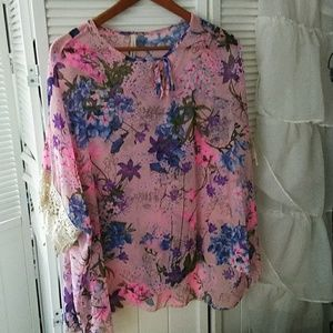Tops - Pink Floral Lace-Accent Top,  LARGE